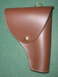Gun holster in brown vegetable leather